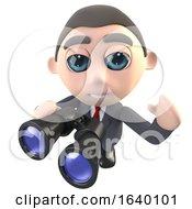 3d Businessman Character Using A Pair Of Binoculars