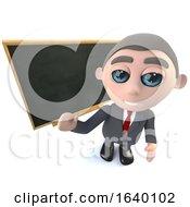 3d Businessman Character Standing In Front Of A Blackboard Chalkboard