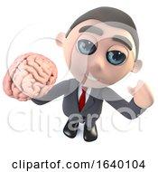3d Businessman Character Holding A Human Brain
