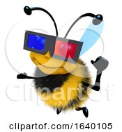 3d Honey Bee Character Wearing A 3d Glasses To Watch A Movie