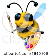 3d Honey Bee Character With Paintbrush And Palette by Steve Young