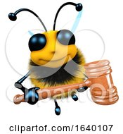 Poster, Art Print Of 3d Honey Bee Character Holding An Auctioneer Gavel