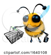 3d Honey Bee Character Carrying A Shopping Basket