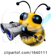 3d Honey Bee Character Looking Through Binoculars by Steve Young