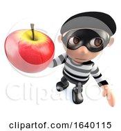 3d Burglar Thief Holding An Apple