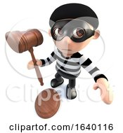 3d Burglar Thief Holding A Judges Gavel