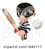 3d Burglar Thief Character With A Baseball Bat And Ball