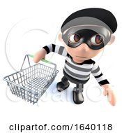 3d Burglar Thief Character Holding A Shopping Basket