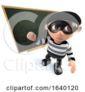 3d Burglar Thief Teaching At The Blackboard