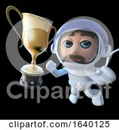 3d Spaceman Astronaut Character Chasing A Gold Cup by Steve Young