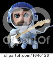 3d Spaceman Astronaut Playing An Electric Guitar In Space by Steve Young