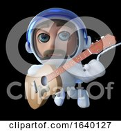 3d Spaceman Astronaut Playing An Acoustic Guitar In Space by Steve Young