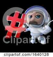 3d Spaceman Holding A Hashtag Symbol by Steve Young