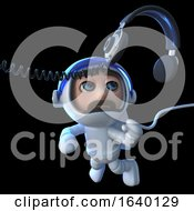 3d Spaceman Astronaut Chasing A Pair Of Headphones In Space by Steve Young