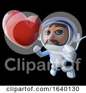 Poster, Art Print Of 3d Spaceman Astronaut Character Chasing A Heart In Space