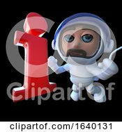 3d Spaceman Astronaut Character Chasing An Information Symbol by Steve Young