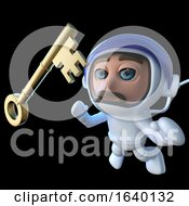 3d Spaceman Astronaut Character Chasing A Gold Key In Space by Steve Young