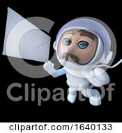 3d Spaceman Astronaut Character Chasing A Message In Space by Steve Young