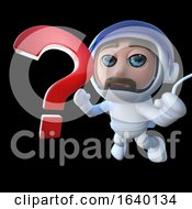 3d Spaceman Astronaut Character Chasing A Question Mark In Space by Steve Young
