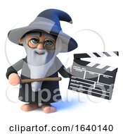 3d Wizard Magician Character Holding A Clapperboard