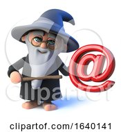 3d Wizard Magician Character Has An Email Address Symbol