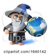 3d Wizard Magician Points To A Globe Of The Earth With His Magic Wand