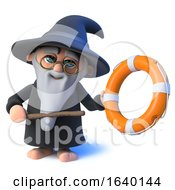 3d Wizard Magician Character Points To A Life Ring With His Magic Wand