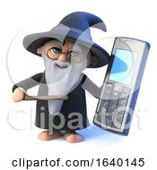 3d Wizard Magician Character Holding A Mobile Phone