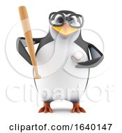 3d Academic Penguin Plays Baseball by Steve Young