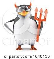 3d Academic Penguin Dressed As The Devil