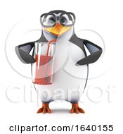 3d Penguin Drinking From A Glass With A Straw