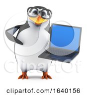 3d Academic Penguin Using A Laptop Pc