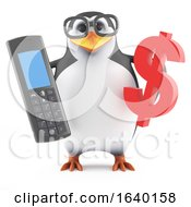 3d Penguin Holding A Cellphone And A Dollar Symbol