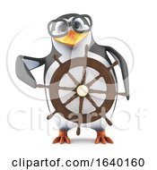 3d Sailor Penguin Steering His Ship
