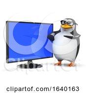3d Penguin With Flatscreen Lcd Tv