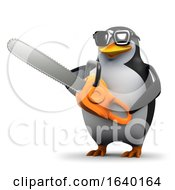 3d Penguin Has A Chainsaw