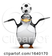 3d Penguin Balancing A Soccer Ball On His Head by Steve Young