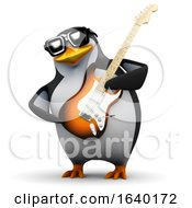 3d Penguin Goes Wild On Electric Guitar