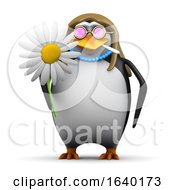 3d Hippy Penguin With Flower