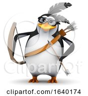 3d Native American Penguin Has Bow And Arrow