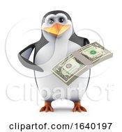 3d Penguin Holds A Stack Of Dollar Bills