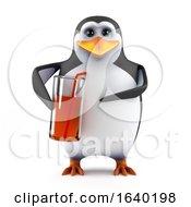 3d Penguin Enjoys A Drink