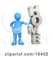 Blue Person Leaning Against The Vertical Word HOME Clipart Illustration Graphic