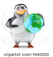 3d Penguin Holding A Globe Of The Earth