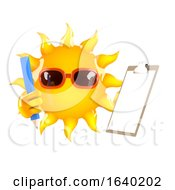 3d Sun Character With Clipboard And Pencil