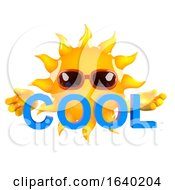 3d Sun Character Holding The Word Cool