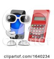 3d Funny Cartoon Smartphone Character Using A Calculator
