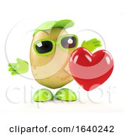 3d Potato Character Holds A Red Heart by Steve Young