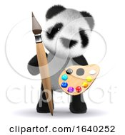 Cute 3d Baby Panda Bear Is An Artist With Brush And Palette by Steve Young