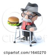 3d Old Man Eats A Burger